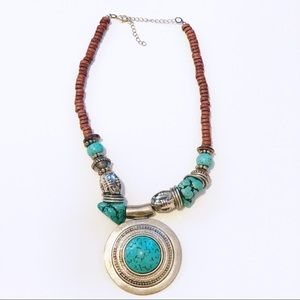 Jewelry - Boho Faux Turquoise Wood Beaded Statement Necklace